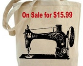 Tote bag - canvas tote bag - shopping bag - grocery bag - totes - Vintage Sewing Machine Tote - Canvas bag