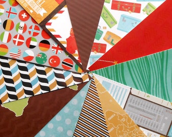 DESTASH - DCWV Travel Adventure: Flags - Pack of 12 Different Scrapbook Papers, 6 inch X 6 inch