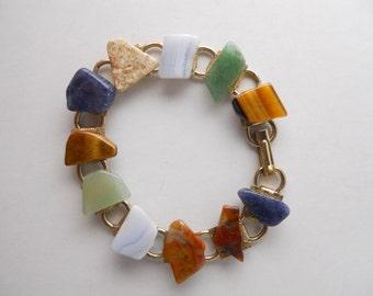 AGATE STONE CHIP link bracelet, vintage 1960s, Mad Men chic, summer bohemian bracelet, casual, colorful, chic