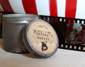 vintage education film strip in metal tin, religious themed