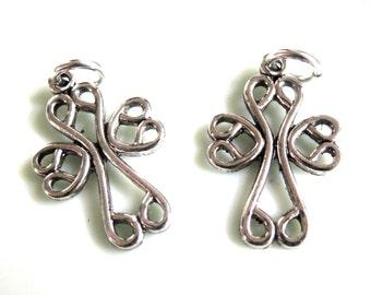 Metal  Silver Cross Stampings with Jumprings x 2