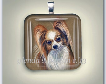 Papillon Dog Fine Art Drawing on a Glass Pendant