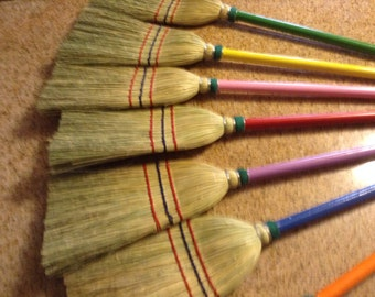 Childern size colorful handle handmade broom
