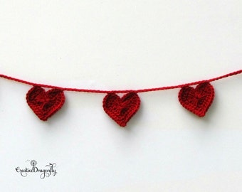 Valentine Heart Garland, Heart Banner, Red Photo Prop Bunting