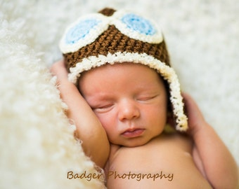 Newborn Baby Aviator Hat, 0 to 3 Month Brown Baby Ear Flap Hat Photo Prop