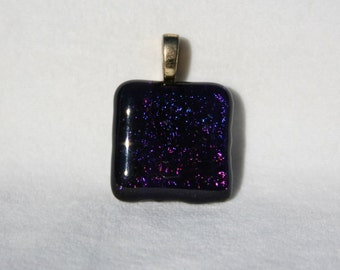 Fused Dichroic Glass Pendant - Metallic Purple and Gold No  0015