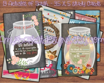 LDS Primary 13 Articles of Faith 3.5 X 5 Cards