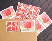 Running Heart .. LOVE .. Vintage UNused Postage Stamps .. to post 5 letters