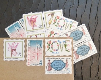 LOVE Orchid Arrangement .. Vintage UNused Postage Stamps .. to post 5 letters