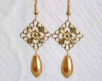 Gold Filigree and Gold Pearl Teardrop Pierced or Clip On Earrings, 12 Colors Available