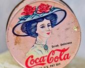 Coca Cola tin can...  antique tin can...   collectible...  Home Decor...  p2-4  L