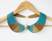 Triangles Leather Necklace Blue Brown Metallic Gold Leather Collar Bib Necklace Peter Pan Detachable Collar Aqua Ready to Ship