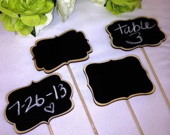 2 Chalkboard Wedding Cake Toppers, Mini Chalkboard Signs- Chalkboards on Sticks - Chalkboard Stakes - Chalkboard Wedding Cake Toppers