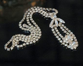Rhinestone Necklace #4, Vintage Bride, Princess, Unusual Loop Design, Silver Metal, Excellent Condition