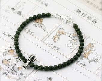 Dorje bell propitious amulet bracelet (DB) - Russian serpentine