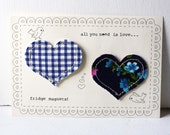 SALE! all you need is love vintage fabric heart magnets blue floral blue check