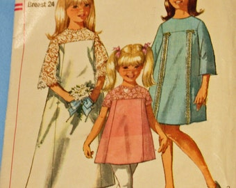 Vintage 1960s, Simpliicity 6996, Sewing Pattern, Child's One-Piece Dress in 2 Lengths,  Child's Size 6