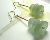 14 K Gold and Seaglass Earrings- Ready to Ship