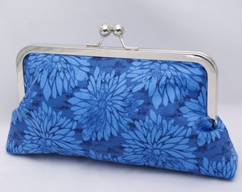 Blue Floral Handbag Clutch in Cobalt Blue Royal Blue-Custom Made