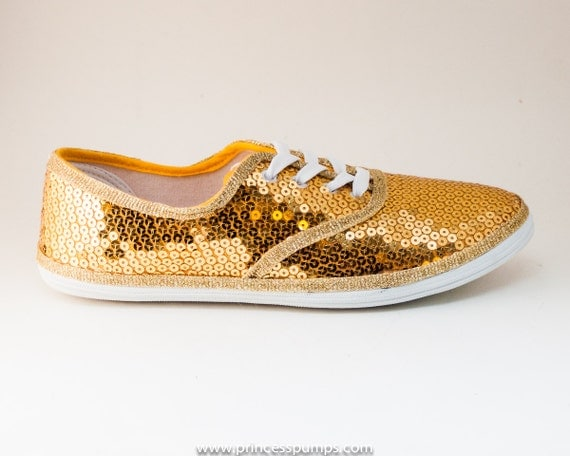 cvo gold sequin canvas sneakers tennis shoes by princesspumps