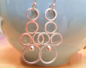 Silver Circle Earrings, Chandelier Earrings, Long Sterling Silver Cluster Earrings