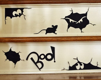Creepy Cracks Halloween Vinyl Wall Decal Silhouettes Stair Decal Repositionable Reusable