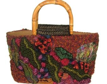 Women's Freeform Crochet Handbag OOAK Autumn Toned with gum leaf motifs