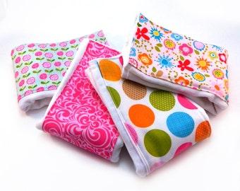 Girl Burp Cloths - Pink Green Blue Orange Flowers Dots- Set of 4