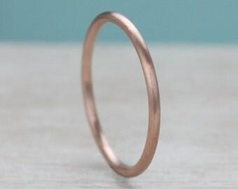 Matte Gold or Palladium Round Midi Ring, Stacking Ring, or Wedding Band - Eco-friendly recycled single ring  - Bespoke round band ring