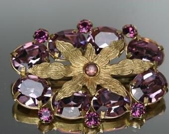 Vintage Gold Tone Brooch with Purple Rhinestones