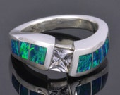 Lab Created Opal and White Sapphire Ring in Sterling Silver