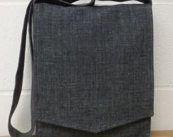 Blue Grey Linen Messenger Bag