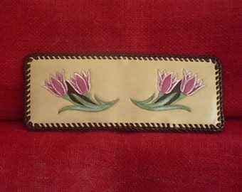 Handmade Leather WOMEN's Wallet RED TULIPS