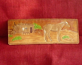 """Handmade Leather Wallet """" THE HOMESTEAD"""" in Tan"""