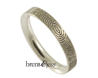3mm Narrow Comfort Fit Fingerprint Wedding Ring with  Your Actual Fingerprint on the Outside - Sterling Silver Fingerprint Ring