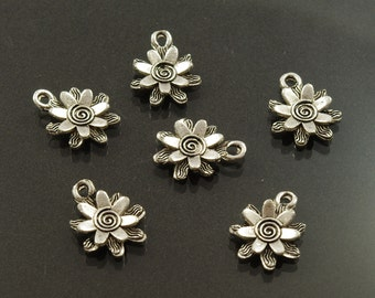 Silver or Gold Ox Pewter Double Layered Flower Charms 13.5 mm - 6