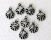 Antiqued Silver Plate Ox Charm Scallop Shell Drop Victorian Style 7mm chm0213 (8)