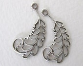 Antiqued Silver Ox Feather Filigree Leaf Drop Charm Pendant Stamping Finding 30mm drp0058 (4)