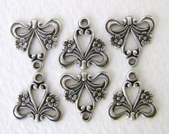 Flower Heart Connector Filigree Antiqued Silver Ox Plated Charm Drop 15mm cnn0058 (6)