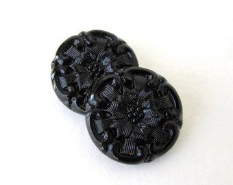 Vintage Glass Czech Flower Buttons Black Jet Sewing Shank 23mm but0243 (2)