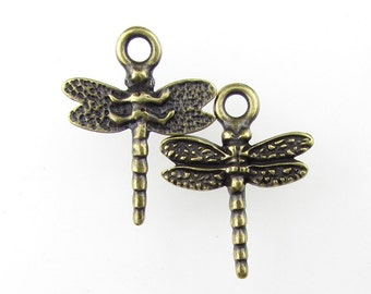TierraCast Antiqued Brass Ox Dragonfly Charm Pendant Drop 20mm chm0298 (2)