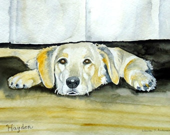 Dog or Cat Pet Portrait Watercolor Painting ORIGINAL ART -  (larger size one pet)   11 x 14 including mat