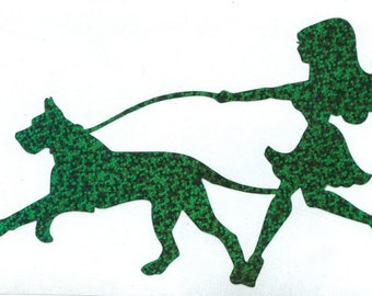 Great Dane and Pin Up Silhouette, Green Glitter Vinyl Decal