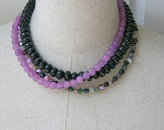 Black Lavender Layered Necklace Beaded Triple Strand Jewel Tones Choker