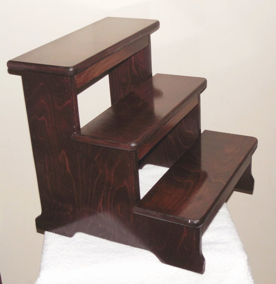 Xxlg Wood 3 Step Stool Dark Cherry