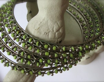 Set of 5 green beaded bangle bracelets