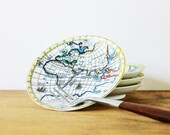 International Dining - Vintage Appetizer Plates - Made in Japan - Mid Century - Global - Map - Travel - Kitchen - Food - Pastel