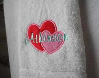 Valentine Embroidered Appliqued Monogram Initial Hand Towel Personalized