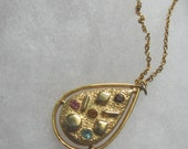 Vintage Sara Zade gold mosaic teardrop pendant necklace by Sarah Coventry