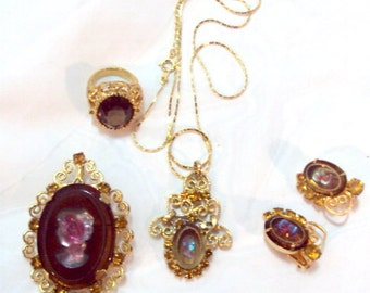 3 Piece Vintage Juliana for Celebrity - Cameo, Pendant, Pin, Earrings, Plus Ring